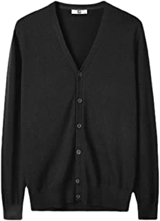 Men Casual Sweater Baggy Solid Button-Up V-Neck Cardigan Sweater