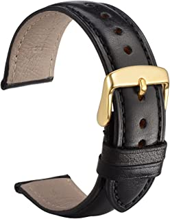 WOCCI Untextured Leather Watch Strap with Gold Buckle, 20mm Watch Band for Men Women (Black with Tone on Tone Seam)