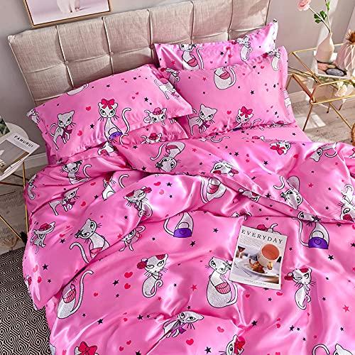 Juego de Funda de edredón para Cama Doble,Cubierta de colcha de seda de lavado de agua de verano con ropa de cama de cuatro piezas-U_1,8 m de cama (4 piezas) - Aplicable 200 × 230cm edredón