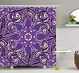 Presock Mauve Duschvorhang, Vintage Oriental Mandala Figure with White Blosssoms Artistic Ornate Motif, Fabric Bathroom Decor Set with Hooks, 60 x 72Inch Extra Long, Lavender Violet White