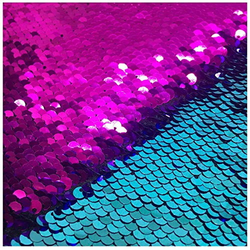 New Sell Turquoise Fuchsia-Reversible Sequin Fabric by The Yard Iridescent Fuchsia Flip Up Large Sequin Fabric Sparkly for Sewing Clothing DIY-Half of Yard