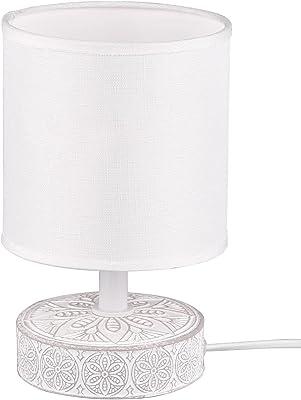 Lampe de table base en céramique décorée avec abat-jour abat-jour pour table de chevet, lampe de bureau, lampe de salon, lampe de bureau, lampe de salon, hauteur 20,5 cm (blanc)
