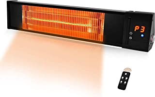 Patio Heater - Electric Heater w/1s-Fast Heating & Remote Control, 24H Timer Overheat Protection, Super Quite Mounted/ Stand(Buy Extra) Space Heater In/Outdoor Backyard, Adjustable 1500W Garage Heater