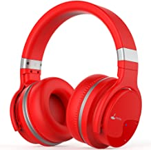 Bluetooth Headphones, Meidong E7B Lightweight Wireless Headphones with Microphone Hi-Fi Sound Deep Bass Headsets Over Ear, Comfortable Protein Ear Pads, 30 Hours Playtime for Travel Work TV (Red)