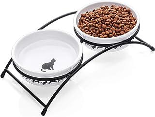 سرامیک Y YHY سرامیک حیوان خانگی ، 12 اونس مواد غذایی با ظرف بالا یا آب ، ظروف دو گربه ، هدیه برای گربه ، سفید