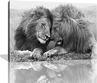 KALAWA Wall Art for Bedroom Lion Canvas Wall Art Animal Portrait Artwork Painting Ready to Hang for Office Room Decoration Black and White Lion Picture
