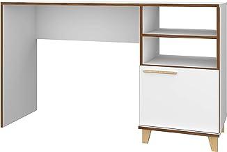 BRV Móveis MDP Office Table with Three Shelves, BC 67-160, White/Pinus Feet, H79 x W44.5 x D135 cm