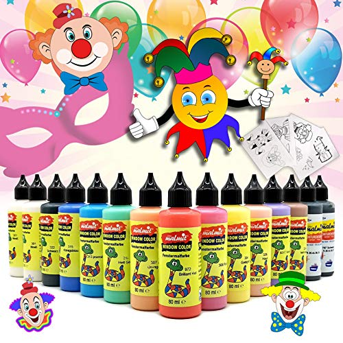 Play malmit® Window Color Karneval Set 15 Fenstermalfarben Fensterfarben Malfarben Fensterbild