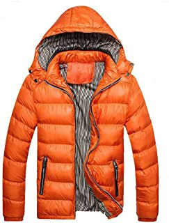 Mens Down Jackets Puffer Coat Detachable Hooded Thicken Outwear Overcoat