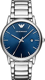 Emporio Armani Luigi Men's Blue Dial Stainless Steel Band Watch - Ar11089, Silver Band, Analog Display