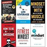 Askgaryvee, life leverage, mindset with muscle, how to be fucking awesome, fitness mindset and mindset carol dweck 6 books collection set