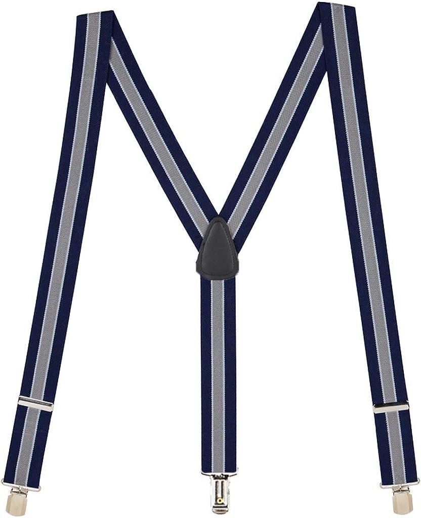 SuspenderStore Men's 1.5-Inch Wide PIN CLIP Suspenders: Stripes & Polka Dots