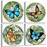 Butterfly Canvas Wall-Art Decor - Nature Artwork Colorful Painting Teen Girls Women Bedroom Living Room Round Decoration Modern Giclee Print Framed Picture Aesthetic Poster 4 Panel Set