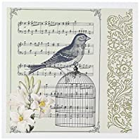 PSヴィンテージ–Musical Bird on鳥ケージwith lilies-ビンテージアート–グリーティングカード Set of 12 Greeting Cards