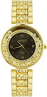 Amazon.com: Pengy Women Diamond Crystal Watch Luxury Gold-Tone Bangle Series Ladies Mature Wrist Watch: Watches