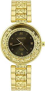 Amazon.com: Pengy Women Diamond Crystal Watch Luxury Gold-Tone Bangle Series Ladies Mature Wrist Watch: Watches