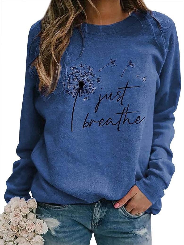 YNALIY Women Just Breathe T-Shirt Dandelion Graphic Tee Long Sleeve Crewneck Sweatshirt Casual Pullover