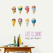BIBITIME Funny Cartoon 8 Emoji Ice Cream Wall Decals Kids Room Decor Stickers Vinyl Ice-cream Cones Sayings LIFE IS SHORT enjoy your dessert Inspirational Quotes for Kitchen Sweet Soda Shop Window