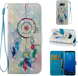Case for Galaxy S8,Pu-Leather [Kickstand] Shockproof Wallet Case Inner Soft TPU Bumper Durable Slim Card Holder with Magnetic Closure & Wrist Strap Compatible with Samsung Galaxy S8 -Dreamcatcher