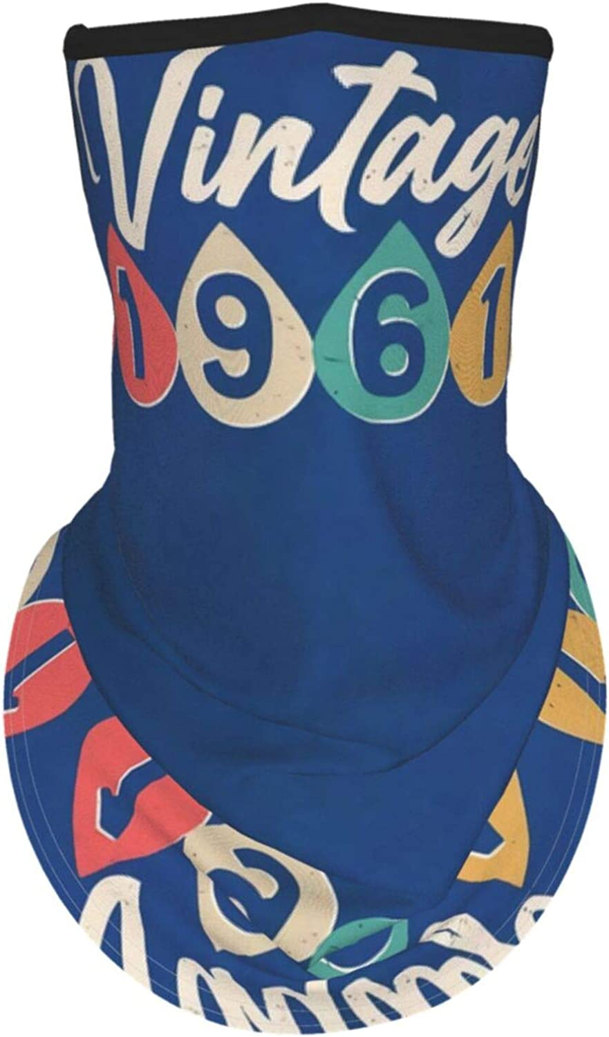 Ear Hangers Face Balaclava Vintage 1961 Design 60th Birthday Blue Protective Cover Wristband Bandanas Neck Gaiter Dust-Proof,Anti-Pungent Gas,Washable