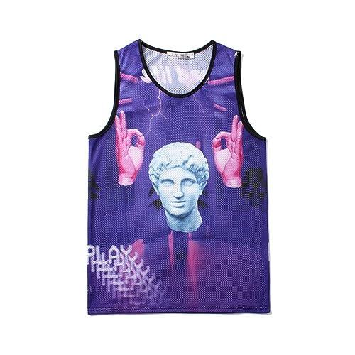 0ec99eba72040 YLM1991 Mens Graphic Tank Top T-Shirt 3D Digital Printed Sleeveless Vest  for Gym Sports