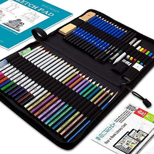 Drawing Watercolor Pencils Art Supplies � 54 Coloring and Sketching Art Set � Each Art Supply Includes Bonus Sketch Book and Digital Library Drawing Tutorials - Pencil Pouch, Graphite Charcoal, Eraser