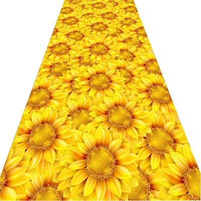 WX&QIANG Corridor Carpet Runner Rug Hallways 3D Household Can Be Cropped,Golden Sunflower,Non-Slip Wear Resistant Soft,Customizable Creativity, Fitness, Crawling for Kids (Color : A, Size : 0.6x6m)