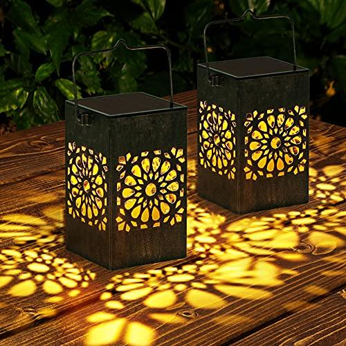 Solar Lantern Lights Outdoor, 2 Pack Metal Hanging Solar Lanterns LED Waterproof Garden Lights for Patio, Yard, Walkway and Pathway Decoration