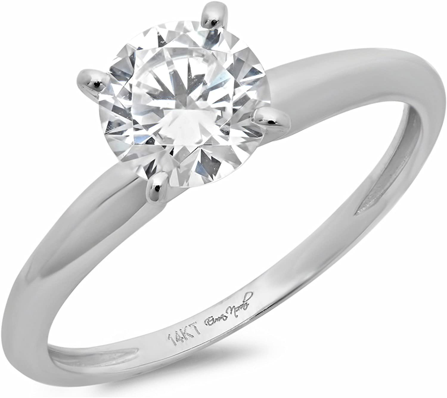 1.45ct Brilliant Round Cut Solitaire Stunning Genuine Lab Created White Sapphire Ideal VVS1 D 4-Prong Classic Designer Statement Ring in Solid 14k White Gold for Women