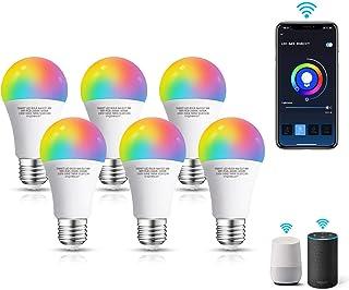 Aigostar 6 Pack Bombilla LED inteligente WiFi A60, 9W, E27 rosca gorda, RGB + CW. Regulable multicolor+luz cálida o blanca...