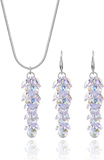 Crystal Jewelry Set for Wedding - Sterling Silver Pear Shaped CZ Cubic Zirconia Pendant Necklace Earrings Set Swarovski Necklace Set for Bride Bridesmaids Bridal Party