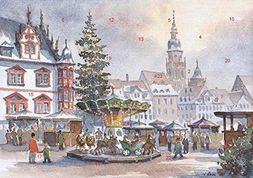 Adventskalender Coburg - Coburger Weihnachtsmarkt Lustiges Treiben am Karussell im DIN-A3 Format