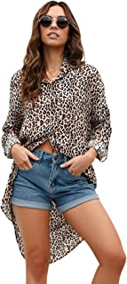 TOOGOO Women Fashion Leopard Print Lapel Shirt Ladies Casual Long Sleeve Asymmetric Buttons Blouse Tops Leopard print S