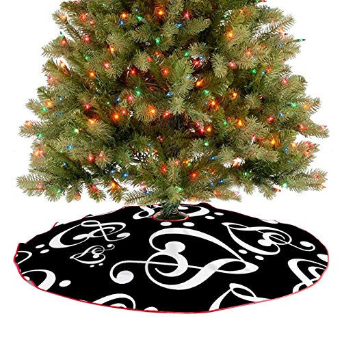 ZUZEN Clef Hearts Music Themed Black And White Christmas Tree Skirt,Party Holiday Ornaments Decorations