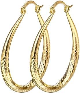 Fashion Women 18k Gold Hoop Earrings, Elegant Stud Dangle Earring Wedding Jewelry Gift