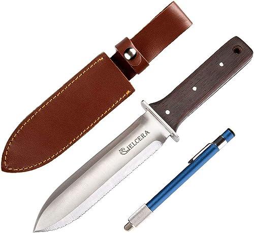 "CIELCERA 12"" Hori Hori Garden Knife (Right Serrated Blade) with Free Diamond Sharpening Rod, Ideal Gardening Digging ..."