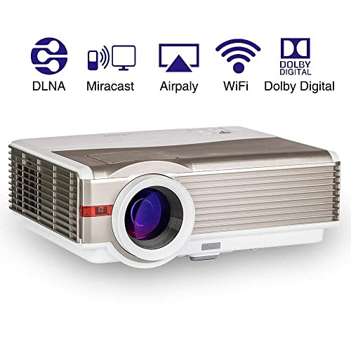 """Wireless Indoor Outdoor HD Smart Video Projectors Android 5000 Lumen 5.8"""" TFT LCD Display 200"""" Support 1080p WiFi HDMI USB Aux Audio for Movies Games Entertainment Party Blu Ray DVD Mobile Phones"""