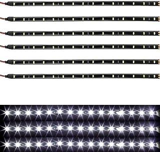 Qoope Car Underglow Lights, Interior LED Strip Lights, 30CM 15SMD 12V Motorcycle LED Lights Strip, Waterproof Glow LED Strip Lights for Boats, Truck Decorative Lights, Pack of 6 (White)