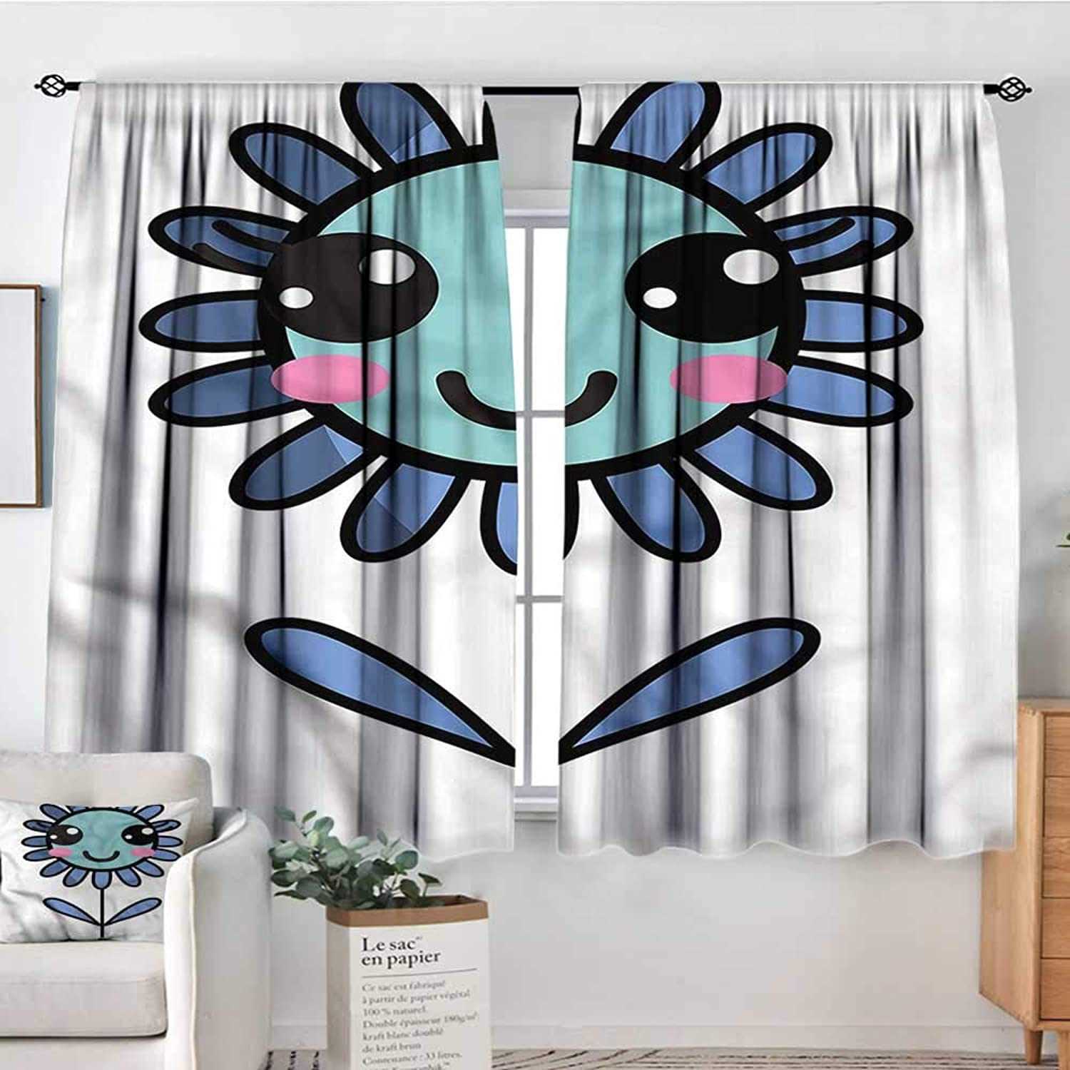 Sanring Kawaii,Rod Curtains Leaves and Petals Cartoon 42 X63  Backout Curtains for Kids Iving Room