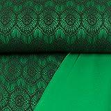 Allroundstoff Modestoffe aufgesetzte Spitze grün