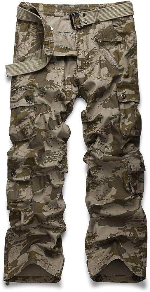 Mesinsefra Mens Cargo Multi Pocket Military Camo Combat Work Relaxed-Fit Pants