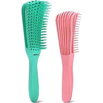 BESTOOL Detangler Brush, Detangling Brush for Natural Hair, Curly Hair Brush Detangle All Wet or Dry Afro America 3a to 4c Wavy Kinky Curly Coily Hair