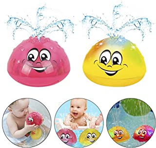Pannow 2 Pack Electric Induction Sprinkler Bath Toy, UFO Shape Multifunctional Automatic Induction Spray Water Toy Rotating Bath Toys for Baby Toddler Infant Kids