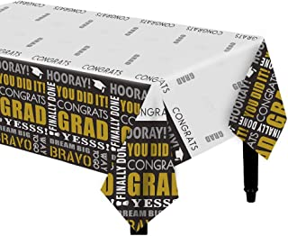 Dazonge Pack of 3 Graduation Tablecloth | Class of 2020 Decorations | 54''x110'' Rectangular Table Covers | Indoor/Outdoor...