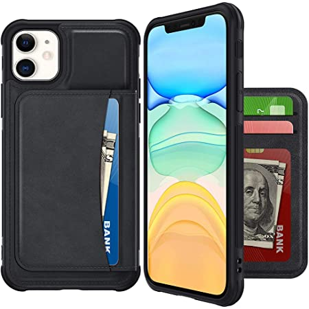 Restoo Compatible with iPhone 12//12 Pro Case,Wallet Case with Card Holder PU Leather 4 Card Slot Kickstand Flip Cover for iPhone 12//12 Pro 6.1 inch,Black
