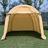 walnest Large Heavy Duty Carport Car Canopy Portable Garage Car Canopy Boat Shelter Tent for Party, Wedding, Garden Storage Beige, Round Top Style Portable 10 x 15 x 8 ft