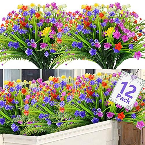 Lot de 12 Fleurs Artificielles Deco Bouquet Fleur Artificielle SHEEPPING Fausse Plantes 5 Couleurs Résistantes aux UV pour Vase Intérieur Extérieur Plantes Suspendues Pot Jardin Mariage