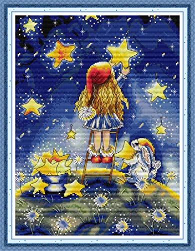 YEESAM ART Kits de punto de cruz con sello para adultos principiantes, niñas, estrellas estrelladas, 11 quilates, 41 x 52 cm, kit de costura de bordado con patrones de punto de aguja de Navidad (niña)