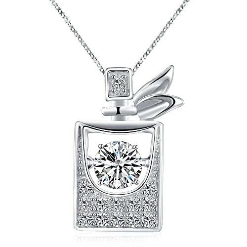 4c87e316a Sable Pendant Necklace Eye-Catching Dancing CZ Stone with Sparkling  Floating Crystals (Shape of