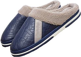 LQLD Coton Pantoufles pour Hommes, en Cuir pour Hommes Imperméable Non-Slip en Coton avec Chaussons Semelles Souples pour ...